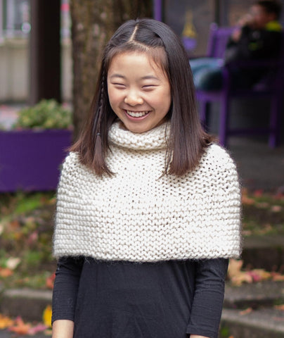 Shoulder Cozy (Child) Using Rowan Big Wool and Sesia Bluebell
