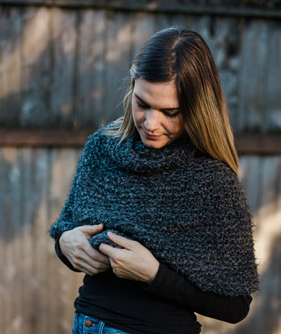Shoulder Cozy With Cowl Using Rowan Soft Bouclé