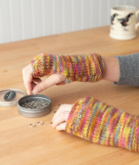 Stitch-Sampler Handwarmers & Ribbed Scarf Using Manos Maxima