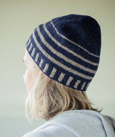 Up & About Striped Beanie Using Rowan Valley Tweed