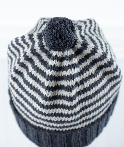 Sydney Striped Hat Using Rowan Denim Revive