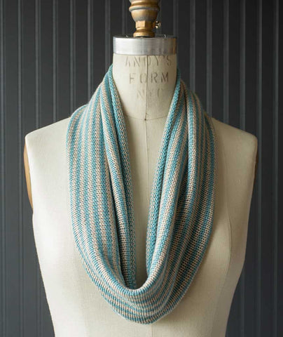 Two-Row Striped Cowl Using String Blossom