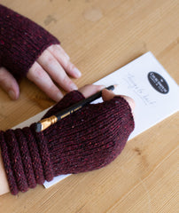 Welted Fingerless Gloves Using Rowan Cashmere Tweed