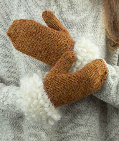 Woolly Loop Mittens Using Loopy Mango Mohair So Soft & Berroco Ultra Alpaca Chunky