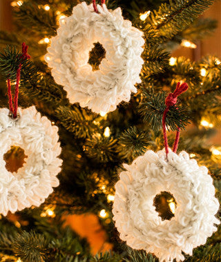 Woolly Wreath Ornaments Using Brown Sheep Lamb's Pride Worsted