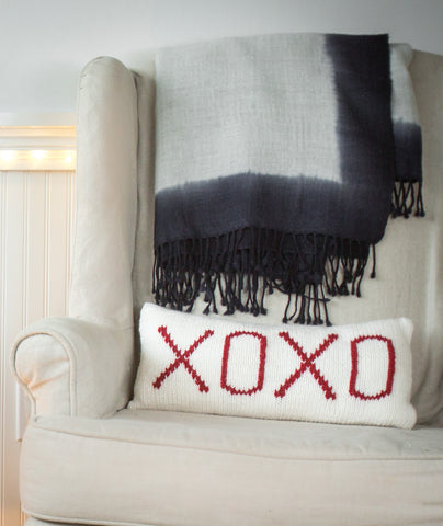 XOXO Pillow Cover Using Brown Sheep Lamb's Pride