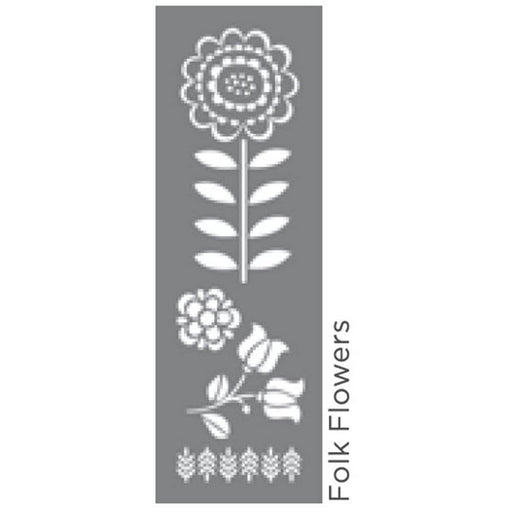 "Americana Decor Stencil Folk Flowers 6""x18"""