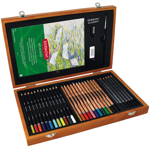 Derwent large colouring pencil wooden box set open