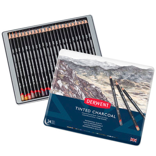 Derwent Tinted Charcoal 24 Tin Pencils