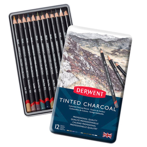 Derwent Tinted Charcoal 12 Tin Pencils