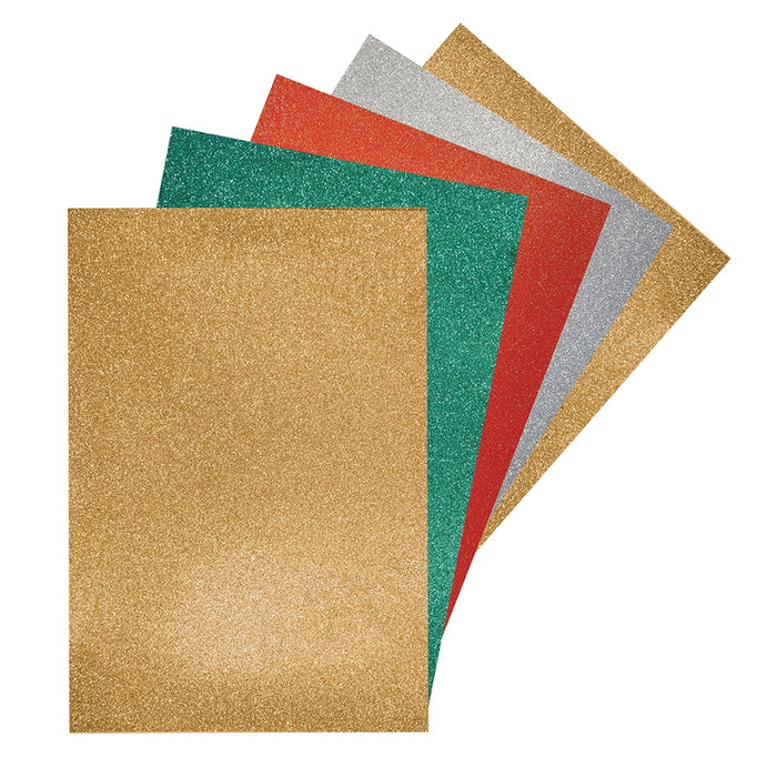A4 Glitter Card pack - Asst. 2 Gold, 1 Silver, 1 Red, 1 Green