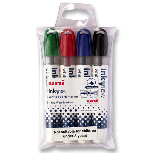 Uni Whiteboard Marker Pwb-202 Inkview Bullet set of 4
