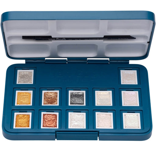 Van Gogh pocket box - 12 x half pans metallic and interference