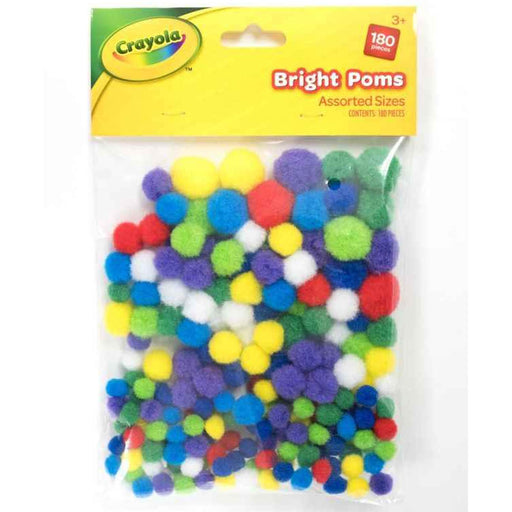 Crayola Bright Pom Poms Assorted sizes 180 pieces