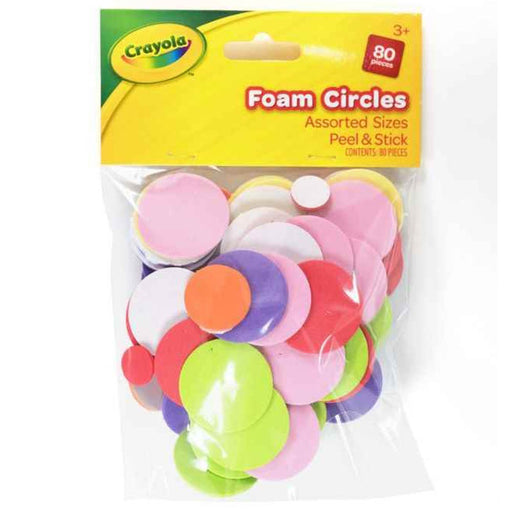 Crayola Foam Circles Assorted Sizes peel and stick 80 pcs