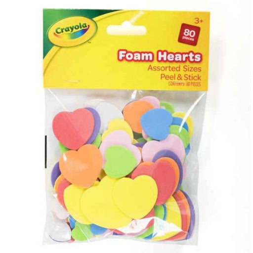 Crayola Foam Hearts Assorted Sizes peel and stick 80 pcs