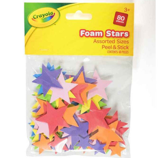 Crayola Foam Stars Assorted Sizes peel and stick 80 pcs