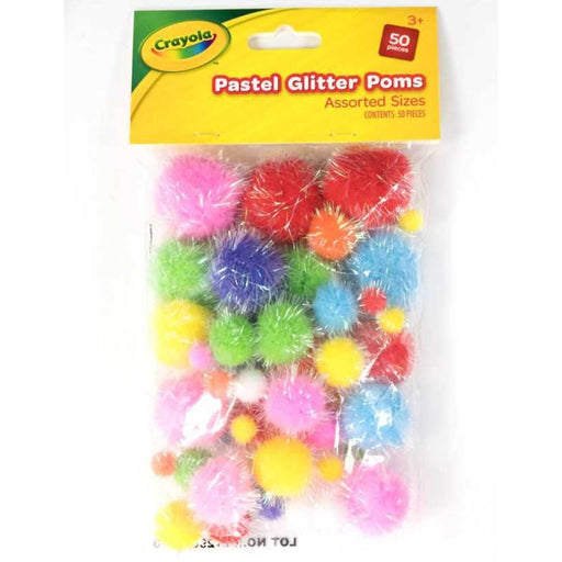 Crayola Pastel Glitter Poms Assorted sizes 50 pieces