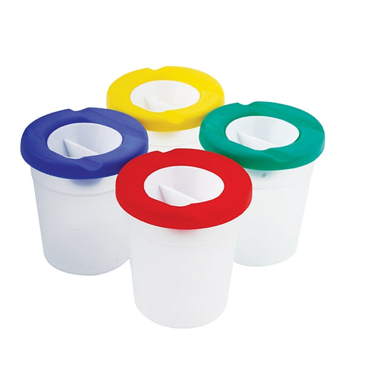 Childrens non spill small paint pot with lid in 4 colours