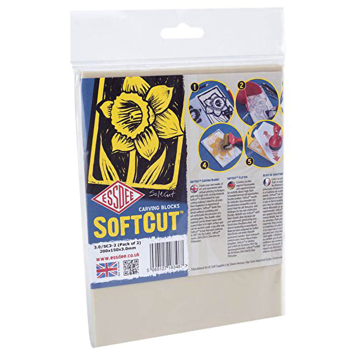 2 x Lino Softcut Block 3.2mm (Pack of 2)