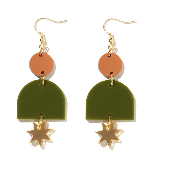 'Alexa' Earrings in Bronze, Olive & Gold - Emeldo