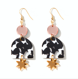 'Alexa' Earrings in Rose, Black & White and Gold - Emeldo