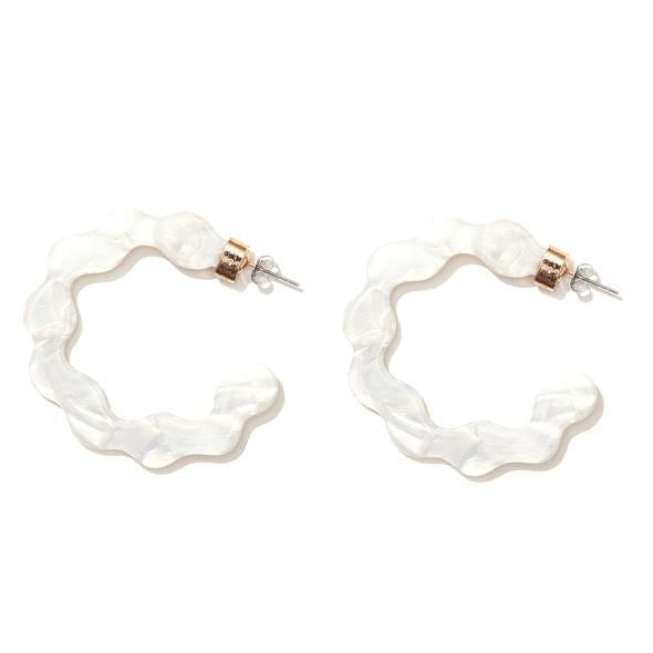 'Alice' Hoops in White Pearl - Emeldo