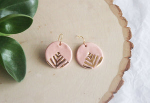Art Deco Drop Earrings (Porcelain) in Pink, Black or Light Blue - Tea4Two Art