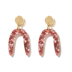 'Candice' Earrings in Rose Pink and Gold - Emeldo