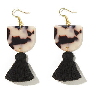 'Coco' Earrings in White Tortoise Shell and Black Tassel - Emeldo