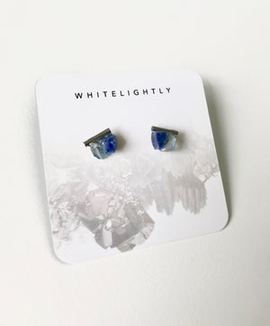 Crystal Earrings in Fluorite & Lapis Lazuli with Silver – WhiteLightly