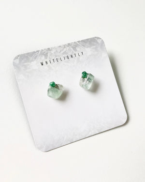 Crystal Formation Earrings in Green Calcite & Malachite – WhiteLightly