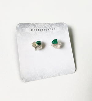 Crystal Formation Earrings in Malachite & Rose Quartz – WhiteLightly