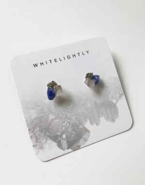 Crystal Formation Earrings in Rose Quartz, Pyrite & Lapis Lazuli – WhiteLightly