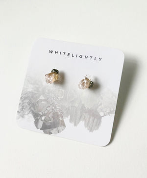 Crystal Formation Earrings in Rose Quartz & Pyrite – WhiteLightly