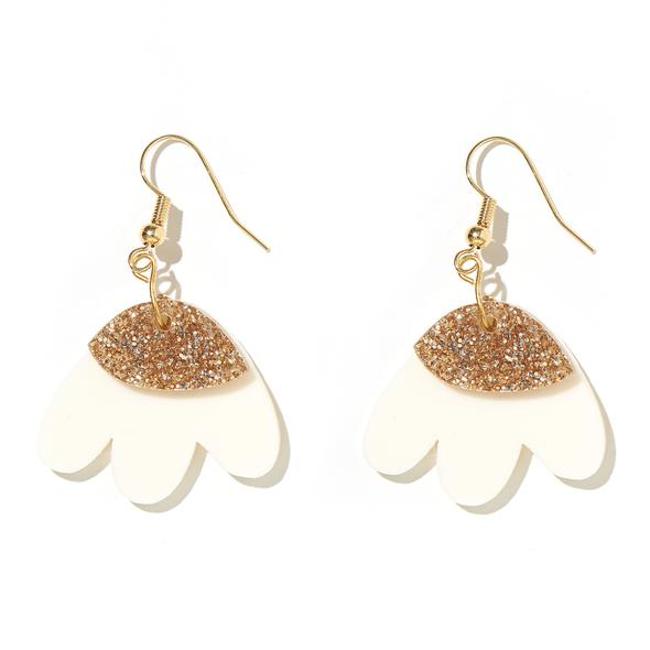 'Elle' Earrings in Cream and Gold Glitter - Emeldo
