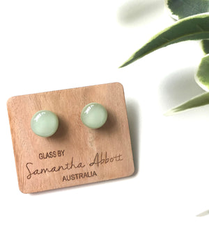 Glass Stud Earrings 'Earthy Green' - Glass by Samantha Abbott