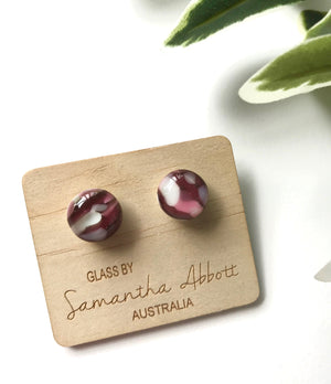 Glass Stud Earrings 'Earthy Pink' - Glass by Samantha Abbott