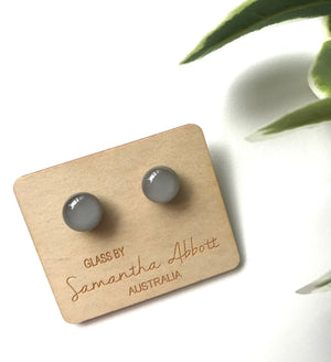 Glass Stud Earrings 'Light Grey' - Glass by Samantha Abbott