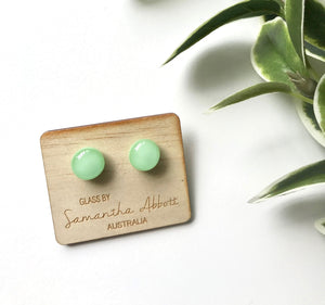Glass Stud Earrings 'Mint Green' - Glass by Samantha Abbott