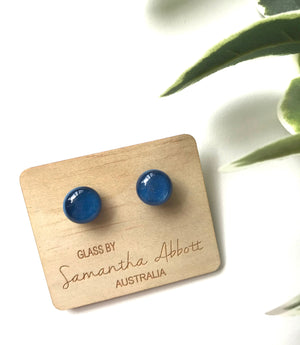 Glass Stud Earrings 'Moonlight Blue' - Glass by Samantha Abbott