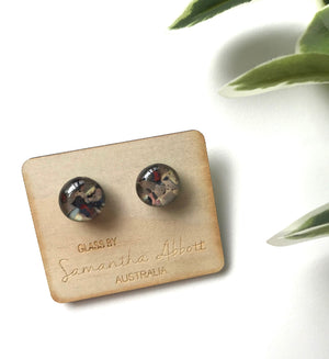 Glass Stud Earrings 'Riverstone' - Glass by Samantha Abbott
