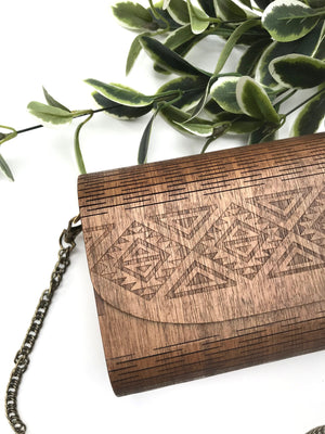 Handcrafted Timber Clutch in 'Tobacco' - Glass by Samantha Abbott