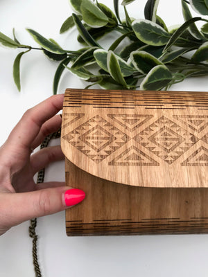 Handcrafted Timber Clutch in 'Natural' - Glass by Samantha Abbott