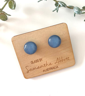Glass Stud Earrings 'Denim Blue' - Glass by Samantha Abbott