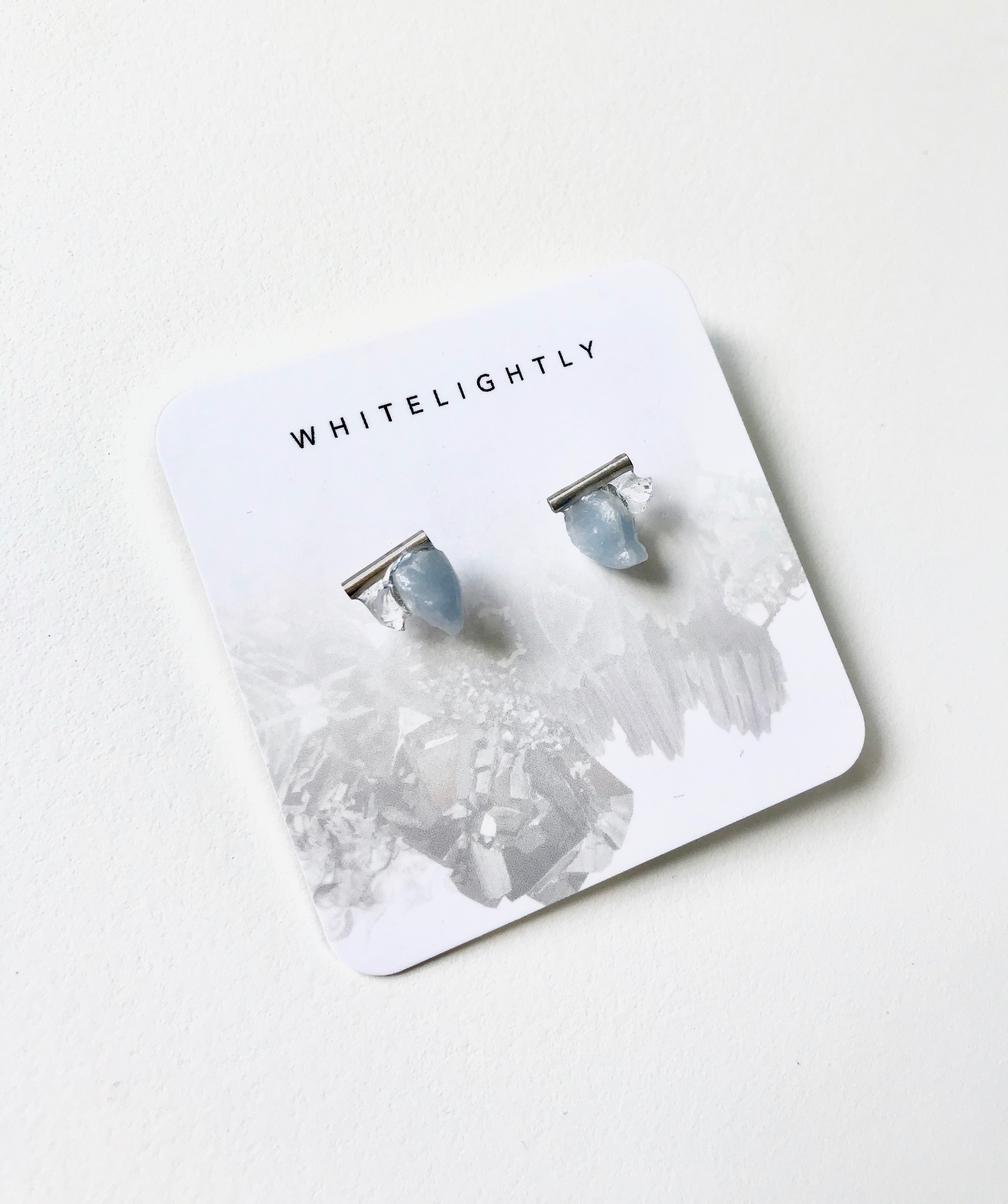 Crystal Earrings in Angelite & Quartz with Silver – WhiteLightly