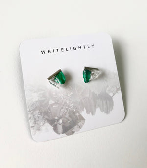 Crystal Earrings in Malachite & Quartz with Silver – WhiteLightly