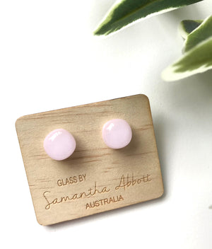 Glass Stud Earrings 'Pastel Pink' - Glass by Samantha Abbott