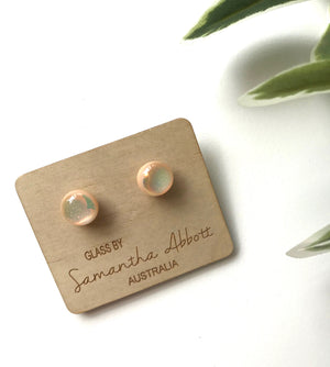 Glass Stud Earrings 'Sparkly Nude' - Glass by Samantha Abbott