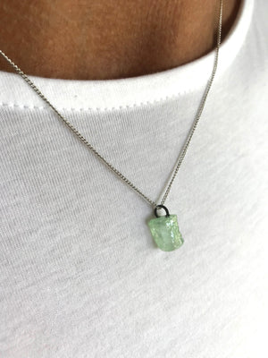 Crystal Necklace in Green Calcite with Silver
